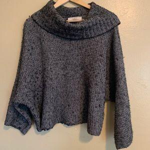 LOFT | Gray Fuzzy Chunky Cowl Neck Sweater | L